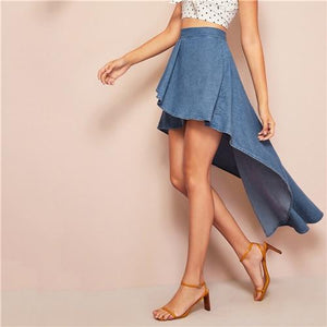 Blue Wide Band Waist Hem Denim Casual Long Skirt Mid Waist Skirts Womens-Women Clothing-Come4Buy eShop