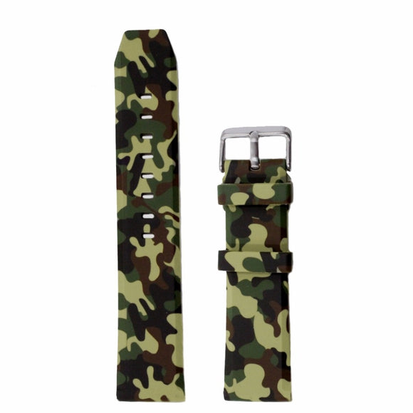 22mm 24mm Camouflage Silicone Rubber Strong Watch Strap Band Sports Army Green Blue Grey Color Men Watch Band WB1229