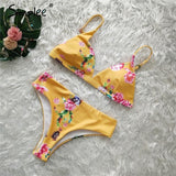 Leopard print women two piece bodysuit High waist push up triangle swimwear Sexy floral print female summer swimsuit-Women Clothing-Come4Buy eShop
