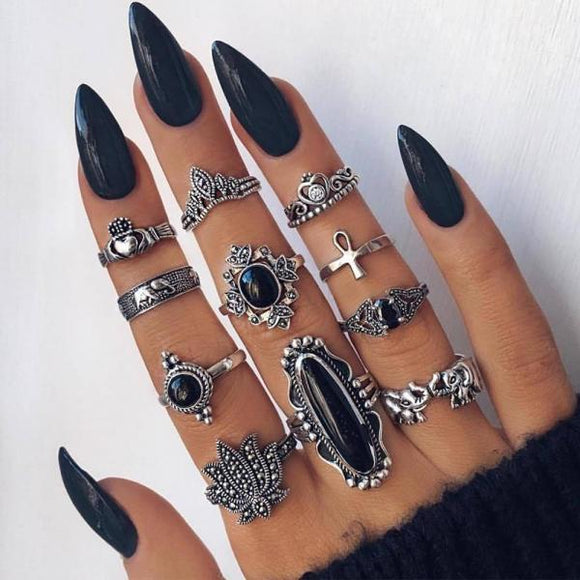 11 Pcs/set Crystal Heart Silver Rings Ladies Party Jewelry Bohemian Retro Elephant Lotus Wedding Accessories Engagement Ring-Rings-Come4Buy eShop