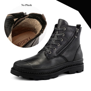 Top Quality Genuine Leather Men Ankle Boot Big Size 38-47 Military Winter Plush Spring Boots Heavy-Men Shoes-Come4Buy eShop