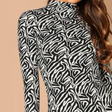 Mock-Neck Solid Bodycon Dress Casual High Neck Long Sleeve Sexy Short Dresses Elegant Women Autumn Modern Lady Dress-Women Clothing-Come4Buy eShop