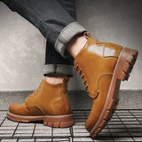 Yellow Men Leather Boots Chelsea Safety Boots Working Ankle Heavy Motorcycle Boots Casual Winter-Men Shoes-Come4Buy eShop