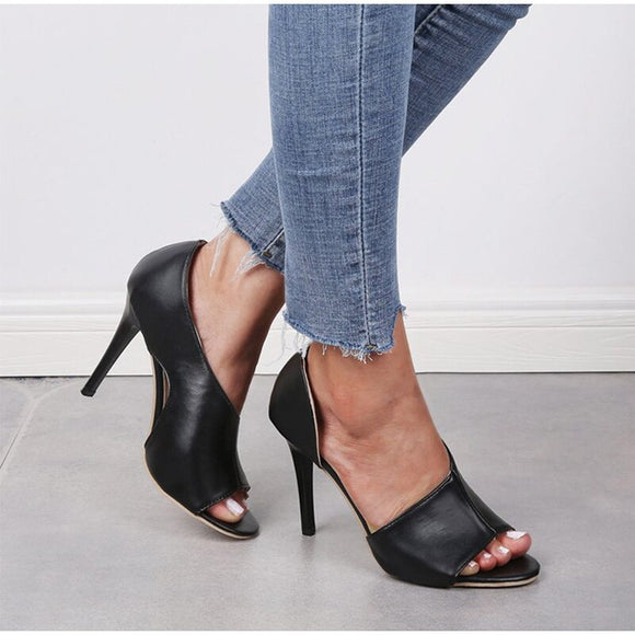 Women Peep Toe Sandals Slip On Leather Thin High Heels Sexy Pumps