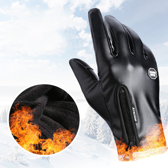 Leather Unisex Waterproof Winter Gloves Cycling Fluff Warm Gloves For Touchscreen Cold Weather Windproof Anti Slip Cycling Glove-[product_type]-Come4Buy eShop
