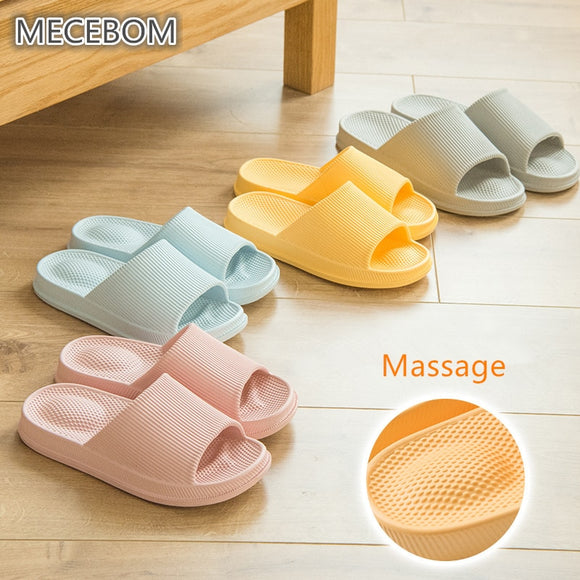 Summer Massage Indoor Slippers Women Bathroom Nonslip Shoes EVA Light Comfortable Home Slippers Candycolor Couple Shoes 35-43