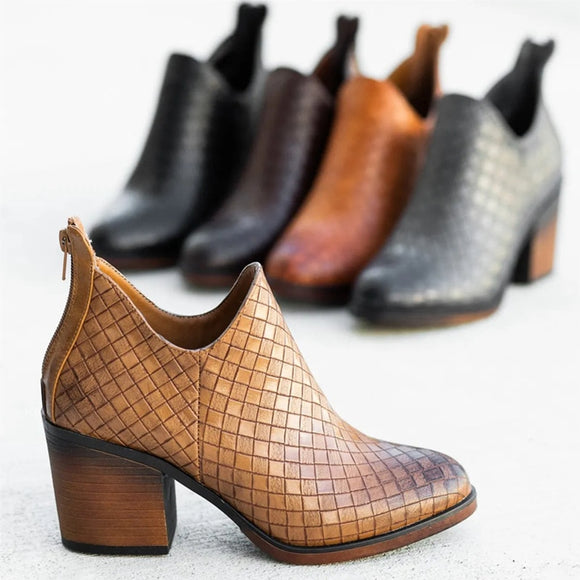 Women Autumn PU Leather Shallow Ankle Boots Woman Casual Soft  Boot Women's Fashion Zipper Ladies Gingham Female Shoes