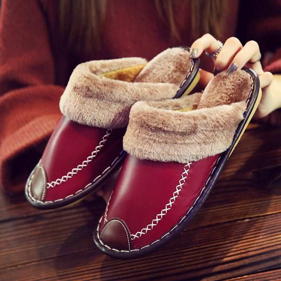 Winter Women Slippers Leather Home House Indoor Non-Slip Thermal Shoes Men 2019 New Warm Furry Slippers Plus Size
