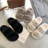 Winter Women House Fuzzy Slippers Faux Fur Fashion Warm Shoes Woman Slip on Flats Female Furry Slides Black Pink Cozy Home