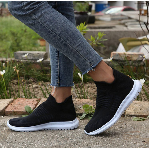 Woman Autumn Sneaker Women Vulcanized Shoes Knit Female Slip On Flat Shoes Soft Ladies Fashion Casual Women's Footwear