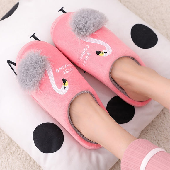 Women Winter House Slippers New Cute Flamingo Non-slip Soft Fur Plush Warm Indoor Bedroom Home Shoes ladies furry slides