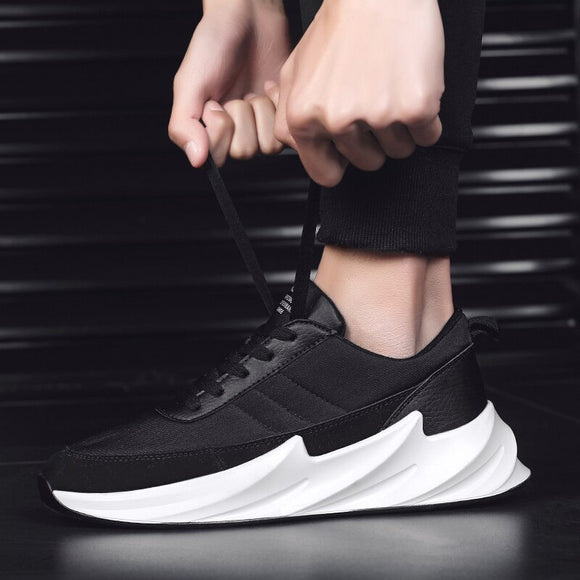 New Fashion Men Flyweather Comfortable Breathable Non-leather Casual Light Running Sport Jogging Shark Bottom Shoes
