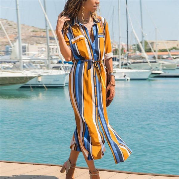 Boho Beach Dress Casual Long Sleeve Elegant Party Dress Vestidos Turn Down Collar Office Ladies Stripe Shirt Dress Long