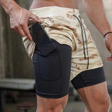 New Gym Shorts Men Fitness Running Shorts 2 In 1 Camo Bodybuilding Sport Shorts Men Dry Fit Training Male Gym Shorts Jogging