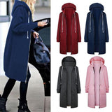 Womens Hoodies Long Sleeve Winter Warm Windbreaker Women's Sweatshirt Zip Open Hoodies Sweatshirt Long Coat Jacket Tops Outwear-Women Jacket-Come4Buy eShop