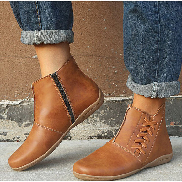 Women's Zipper Pu Leather Ankle Boots Autumn Woman Sewing Solid Flat Boots Female Causal Plus Size Platform Ladies Shoes