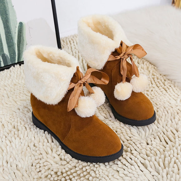 Winter Flock Leather Warm Snow Shoes Women Boots Mid-calf Plush Fur Velvet Boots Shoes Booties Woman Footwear