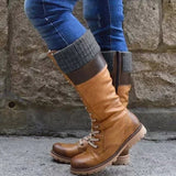 Women's British Boots Warm Mid-calf Boots Winter Shoes Woman Zip Waterproof Lace Up Women Sewing
