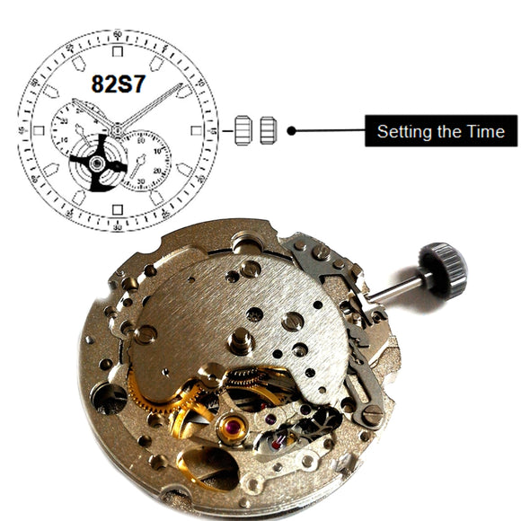 Miyota 82S7 Automatic Manual Winding Movement Front View Skeleton-WATCH MOVEMENTS-Come4Buy eShop