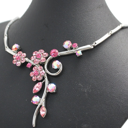 Light Rose Rosy Round Crystal with Earring Gift Box Chrome Necklace Set NS700C-Necklace-Come4Buy eShop