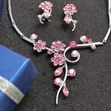Light Rose Rosy Round Crystal Earring Necklace Set