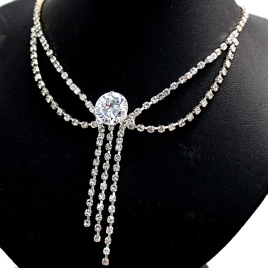 Banquet Wedding Huge Simple Crystal with Earring Gift Box Necklace Set NS752A-Necklace-Come4Buy eShop