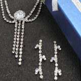 Banquet Wedding Huge Simple Crystal Earring Necklace Set