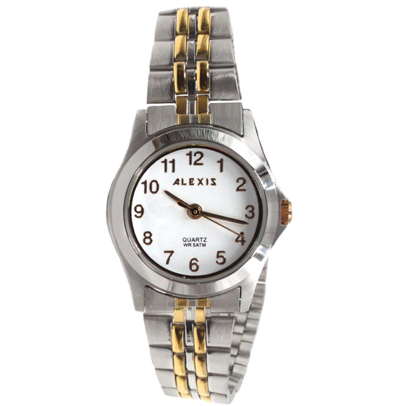 SSW520D White Dial Water Resist Women ALEXIS 2035 MOVEMENT Stainless Steel Watch-WATCHES-Come4Buy eShop