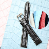 16mm Tan Stitch White All Genuine Leather Unisex Watch Band  WB1036-16GB Popular Black Brown 1.6cm Lug size