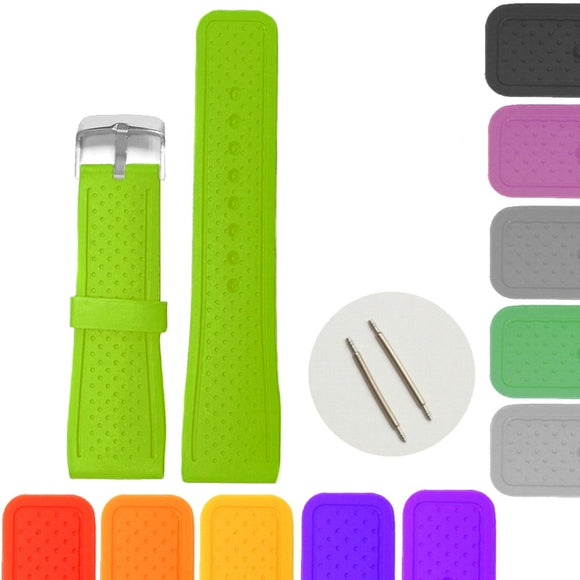 24mm Neon Green Color Silicone Jelly Rubber Ladies Men Watch Band Straps Orange Red Blue Pink Purple Grey Brown White
