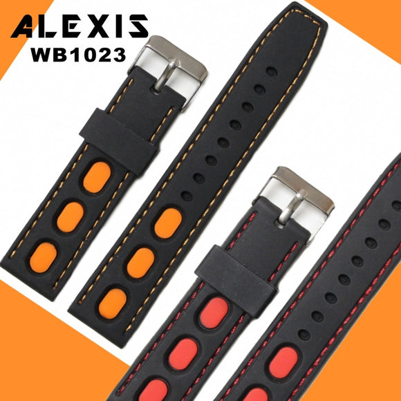 22mm Black With Red Orange Silcone Men Woman Watch Band Straps WB1023 Casual Two-tone Watch Band