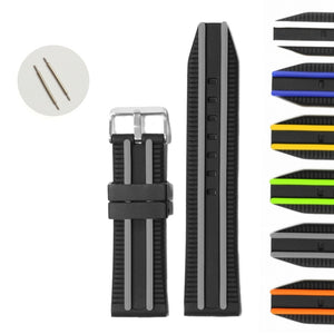 24mm Stylish Two-tone Black With Neon Green Padded Silicone Jelly Rubber Men Ladies Repairment Watches Band Straps WB1049C24JB