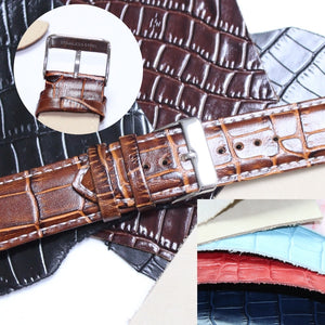 24mm All Genuine Leather Unisex Watch Band Straps WB1036-24GB Smart Brown Tan Black Men Women 2.4cm Wrist Watches Band