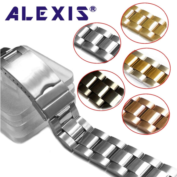 20mm Stainless Steel Watch Band Rose Gold Silver Black Replacement for 20mm Safety buckle  Watches Band Free Gifts Pins bar