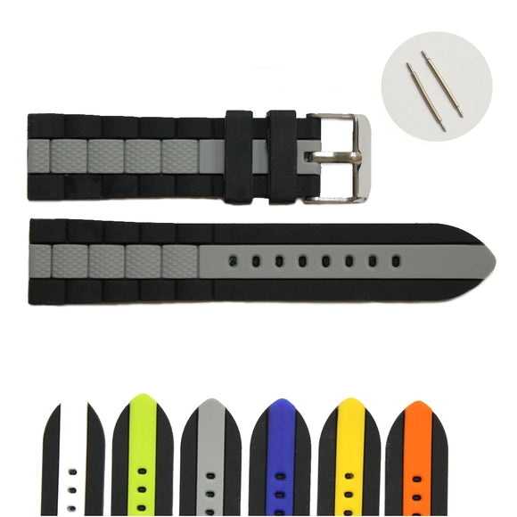 22mm Black With White Blue Green Grey Men Padded Silicone Watch Band Belt Straps WB1050