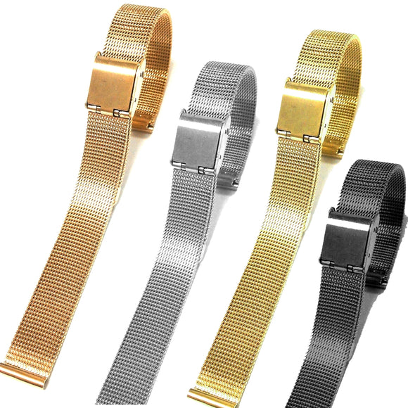Stainless Steel Slim Mesh Ladies Bracelet Band Rose Gold ,Gold, Silver, Black 8mm 10mm12mm 14mm 16mm 18mm 20mm 22mm 24mm