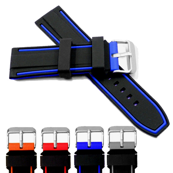 20mm 22mm 24mm 26mm Black With Orange Red Blue Grey Silicone Jelly Men Women Soft Color New Watch Band Watch Straps