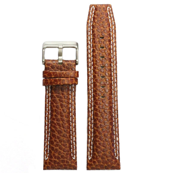 24mm Genuine Leather Watch Band Brown Color Stainless Steel Buckle WB1238A24GB-WATCH STRAPS-Come4Buy eShop