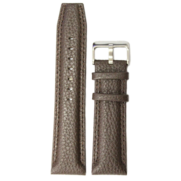 24mm Genuine Leather Watch Band Brown Color Stainless Steel Buckle WB1238C24GB-WATCH STRAPS-Come4Buy eShop