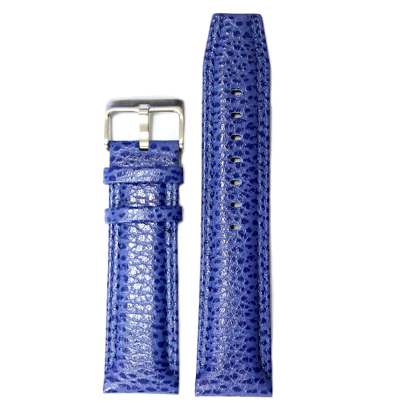 24mm Genuine Leather Watch Band Blue Color Stainless Steel Buckle WB1238E24GB-WATCH STRAPS-Come4Buy eShop