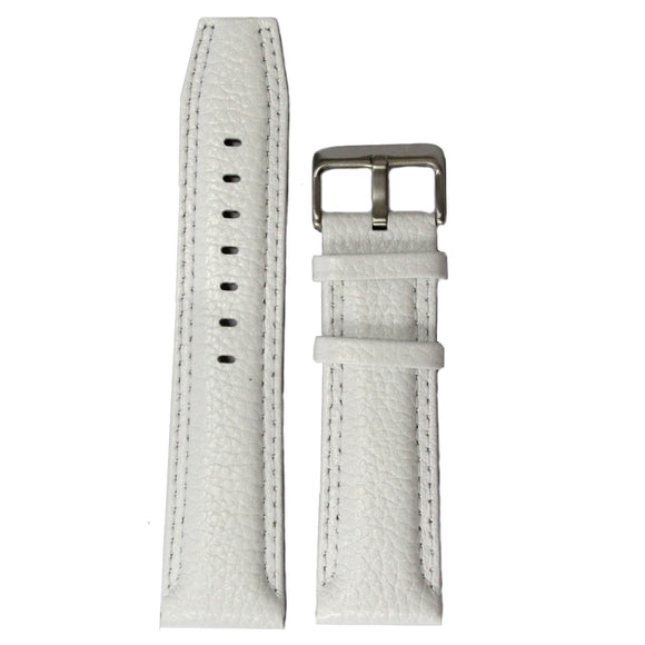 24mm Genuine Leather Watch Band White Color Stainless Steel Buckle WB1238F24GB-WATCH STRAPS-Come4Buy eShop