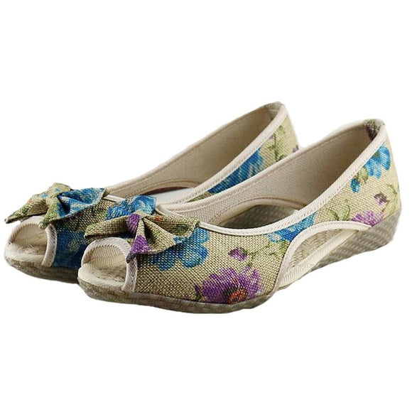 Vintage Women Flats Summer New Soft Canvas Embroidery Shoes Casual Slip On Bow Dance Flat Sandals-women shoes-Come4Buy eShop