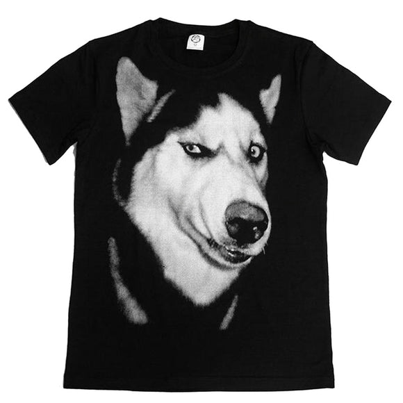 Husky T-shirt Funny than despising eyes doge god annoying dog black short sleeve