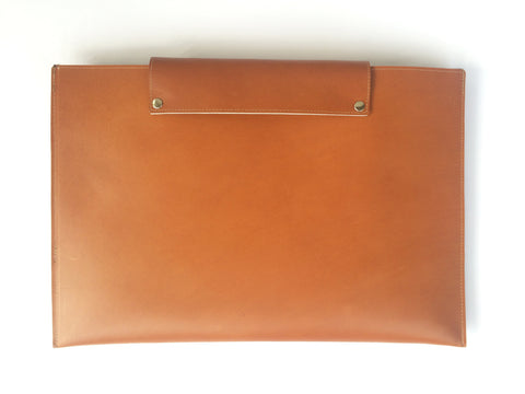 COGNAC BROWN LEATHER LAPTOP SLEEVE 13""