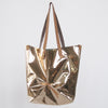 Golden Pleated Tote Bag