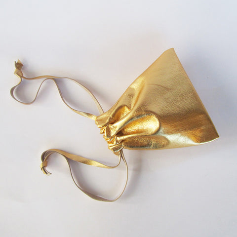 Golden Leather Gift Pouch