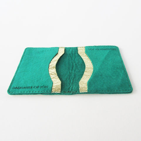 Green / Gold Leather Cardholder 4 slots