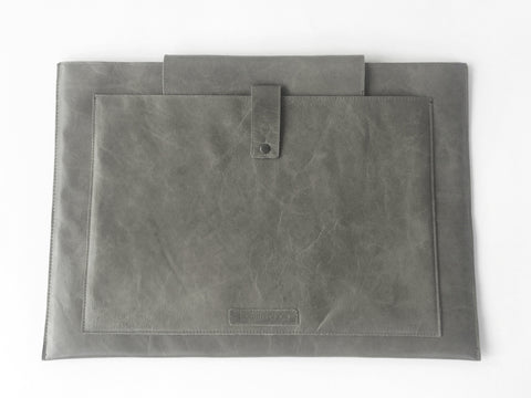 GREY LEATHER LAPTOP SLEEVE 15""