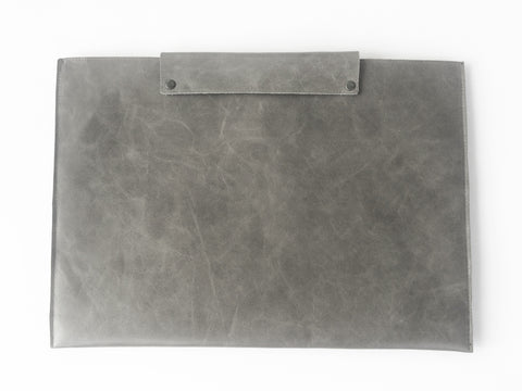 GREY LEATHER LAPTOP SLEEVE 13""
