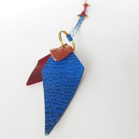 Blue / Red / Brown leather Keyfob